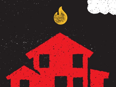 Neighbors from Hell house hell illustration fire cloud red texture