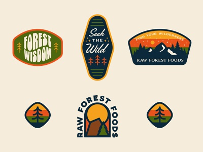 RAW Forest Food Stickers vintage mountain patch badge design pine tree wilderness trees forest stickers sticker branding icon badge logo illustration shane harris