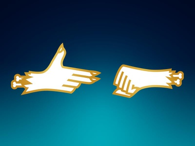 RTJ gradient bones fingers white enamel gold illustration hands rtj run the jewels