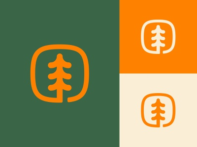 Tree Badge nature tree squircle orange green logo mark icon illustration design logo shane harris