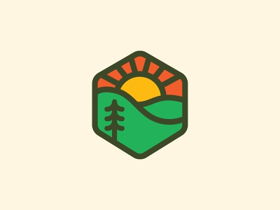 Another Tree Badge green thicklines outdoors nature sun tree identity icon logo badge illustration shane harris