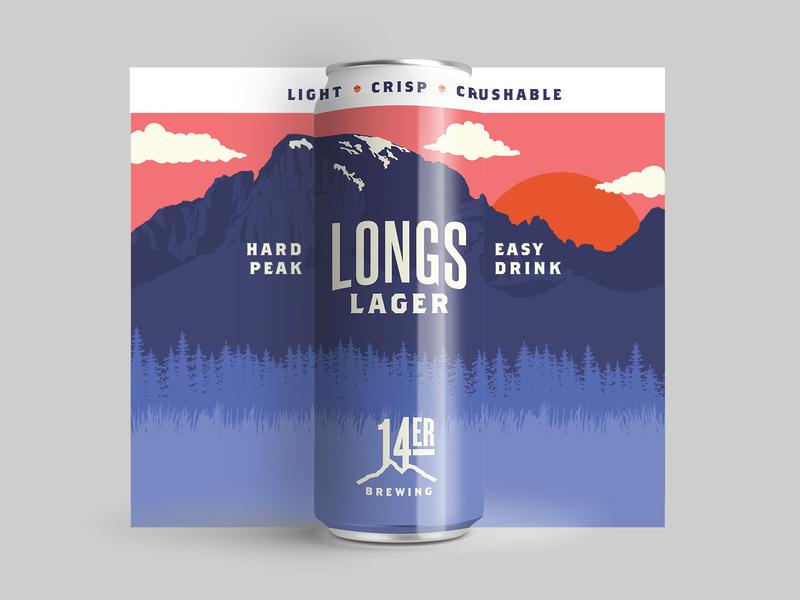 Longs Lager packaging mockup mountain longs peak denver colorado label design can label beer design beer illustration shane harris