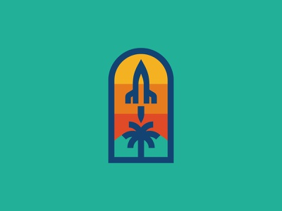 Brevard County Rebrand palm tree space rocket rebrand florida branding type icon badge logo illustration shane harris