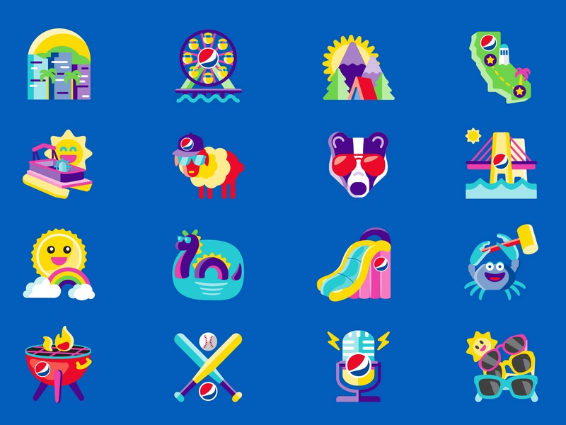 Summer Icons: Set 1 summer icons summer soda shane harris packaging logo illustration icon bottle label bottle blue