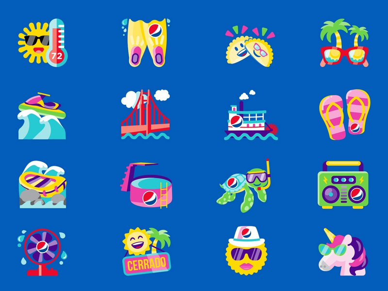 Summer Icons: Set 2 summer icons summer soda shane harris packaging logo illustrator icon bottle label bottle design bottle blue