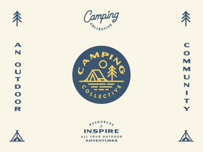 Camping Collective Branding badge design branding design branding trees outdoors camping collective camping type icon blue shane harris badge logo illustration