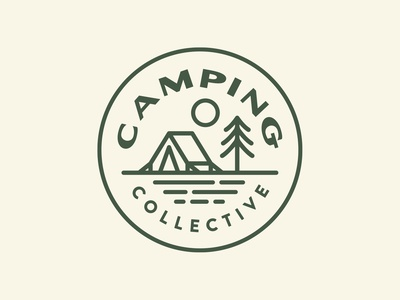 Camping Collective Badges camping collective outdoors type trees branding design branding badge design camping green icon badge logo illustration shane harris