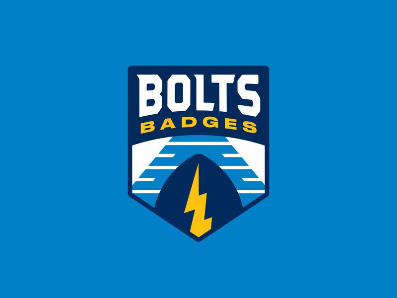 Bolts Badges san diego los angeles bolts bolts badges lightning football nfl chargers blue icon badge logo shane harris illustration