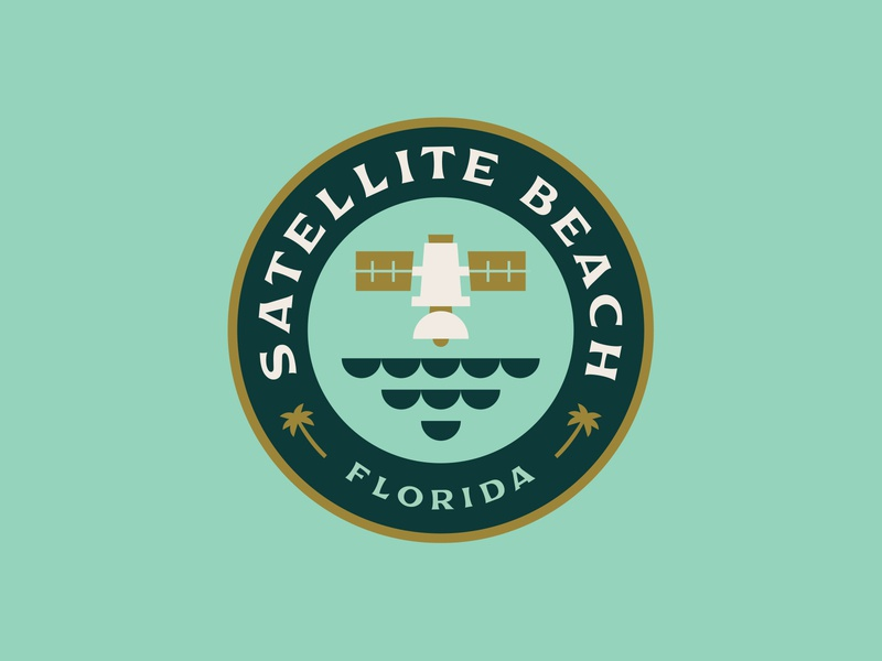 Satellite Beach Badge icon east coast florida shane harris palm trees waves ocean satellite beach logo badge design circle logo badge logo badge