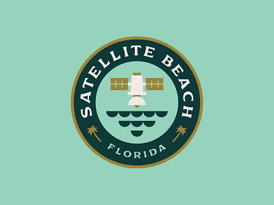 Satellite Beach Badge icon east coast florida shane harris palm trees waves ocean satellite beach logo badge design circle logo badge logo badge