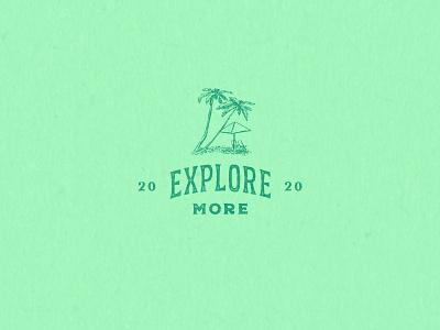 Explore More palm tree beach florida type travel 2020 explore green texture badge logo illustration shane harris