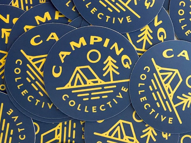 Camping Collective Stickers type trees shane harris outdoors logo illustration icon camping collective camping branding design branding blue badge design badge