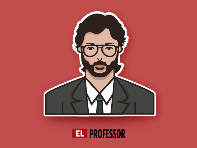 El Profesor - La Casa De Papel sticker character illustration vector illustration vector art illustrator flat avatar flatdesign avatar flat illustration sticker design character design illustrations series netflix series the professor el professor el profesor netflix la casa de papel money heist
