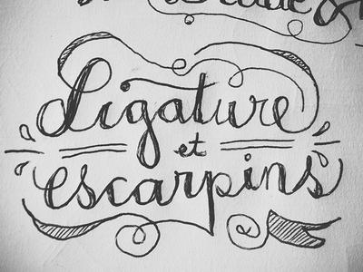 Ligature & escarpins typography hand-written ink sketch