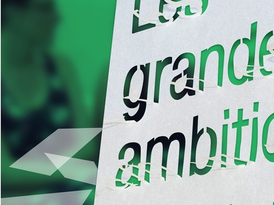 Les grandes typography cut withe paper