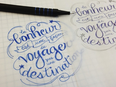 Voyager travel typography hand-writing writing sketch