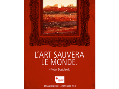 «L'Art sauvera le monde» quote red red cross