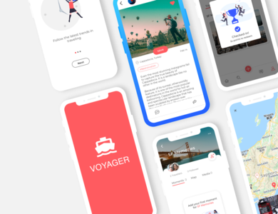 Voyager App - Air Stories with Friends & Family! share stories travel app journal illustration ui design daily 100 challenge