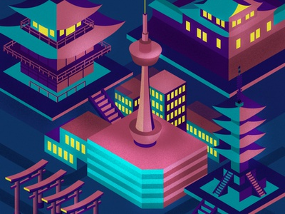 Globetrotter: A Futuristic Kyoto isometric art illustration art motion graphics motiongraphic motion motiongraphics mograph design schoolofmotion illustrationformotion illustration