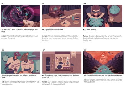 Wizards and Witches Mtn Retreat Storyboard schoolofmotion motion graphics motiongraphic mograph motiongraphics motion illustration art illustration illustrationformotion design