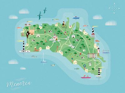 Mapa ilustrado de Menorca vector flat design travel map flat design illustration