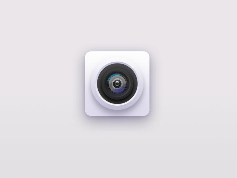 Skeuomorphism camera design icon set illustration icons flat ui icon design camera