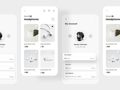 SoundQ Headphones app ecommerce ux uidesign design minimal design ui uiux