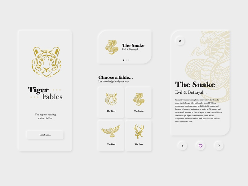Tiger Fables UI Elements elements neumorphism appdesign web  design mobile design adobe xd sketch app ux ui