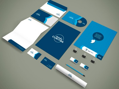 Minha Curitiba curitiba id stationery blue visual identity