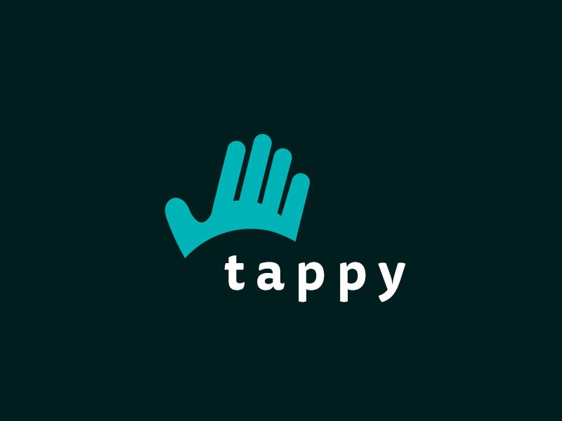 Tappy alternative type finger tounch branding green blue eye hand logo touchscreen tap
