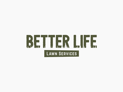 Better Life Lawn Care + Services lawn care lawn services logo identity negative space simple logo design