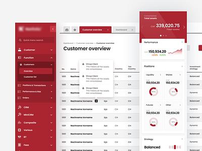 Asset Management - Customer Overview web design webapp app page light flat ux ui table data clean overview customer list management information system
