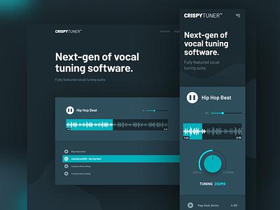 CrispyTuner Demo magyari kalman software tuning vocal plugin vst music dark website webdesign web page landing