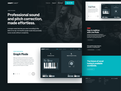 CrispyTuner Features minimal dark landing web design webdesign web site features page vocal tuner features vst
