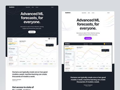 ML Forecasting SaaS Landing Page prediction graph design web light magyari kalman clean flat page landing forecasting learning machine ml