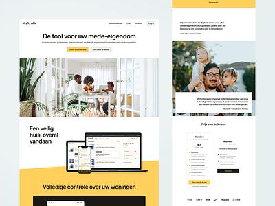 Landing Page for MySyndic house dutch saas management home landing page design light flat landing page clean magyari kalman