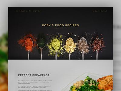 Roby's Food Recipes page landing clean flat colorful kalman magyari robert recipes food