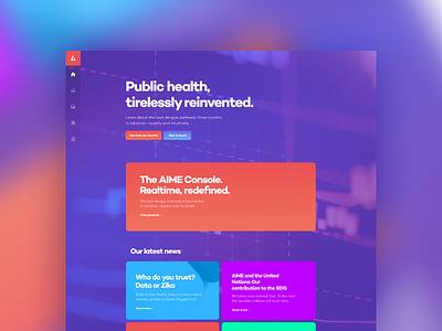 AIME Homepage blue landing page magyari kalman figma design home colorful data public health