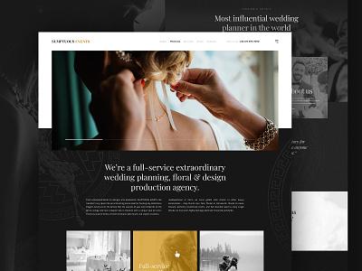 SumptuousEvents Frontpage dark kalman planner wedding landing homepage design homepage