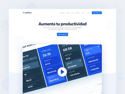 Landing page hero blue flat minimal light clean web design landing magyari kalman tools accounting productivity cashflow