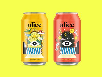 Alice Kombucha identity branding logo typography flat design illustration branding