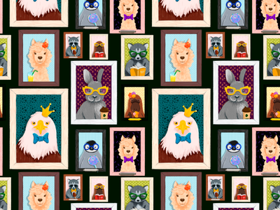 Amimal cartoon portraits Pattern eagle racoon fabric portrait pattern animal
