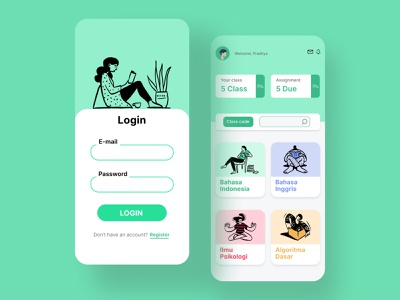 E-learning flat mobile app design flatdesign whitespaces illustration ui ux elearning mobileapps