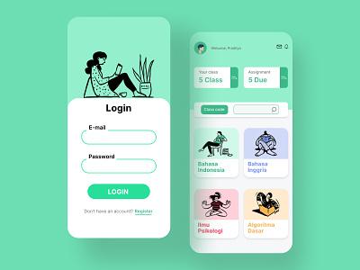 E-learning flat mobile app design flatdesign whitespaces illustration ui ux elearning mobileapps