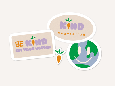 Be Kind - Vegetarian restaurant branding stickers illustration identity graphic design typography brand identity logo designer website brand design design