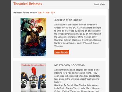 Movie Widget widget design