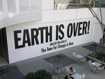 Earth is Over campaign climate change yokohama john lennon museum black white