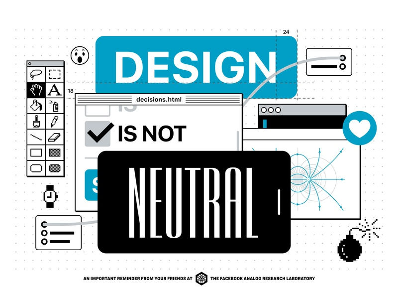 Design Is Not Neutral pixel art ui illustration black white gray blue posters