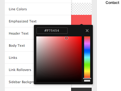 Customization Colorpicker big cartel customization ui