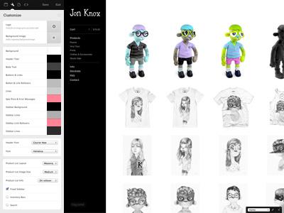 Store Customization UI big cartel customization ui